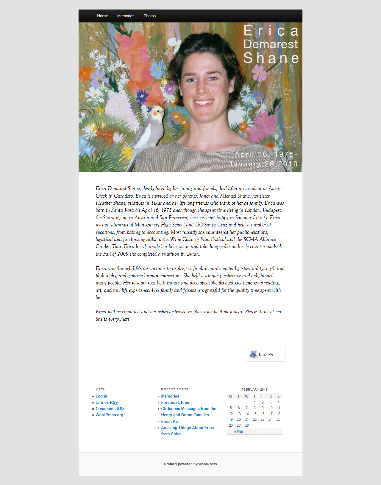 Image of ericashane.net website conversion and design